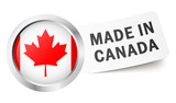 "Button mit Fahne "" MADE IN CANADA """