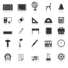 School icons with reflect on white background