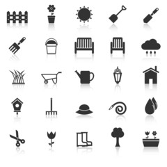 Gardening icons with reflect on white background