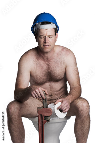 male with naked torso, blue helmet  and wrench