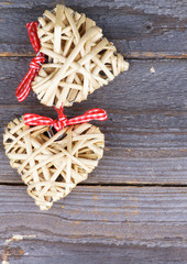 Two Wicker Hearts