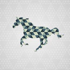 Running horse isolated, triangle pattern