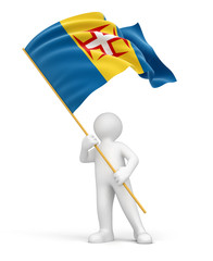Man and Madeira flag (clipping path included)