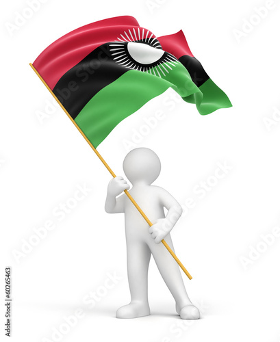 Man and Malawi flag (clipping path included)