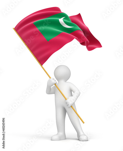Man and Maldives flag (clipping path included)
