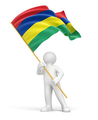 Man and Mauritius flag (clipping path included)