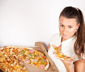 Girl with a delicious pizza