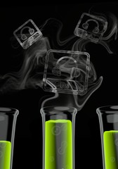 3d render of a isolated dj symbol formed by smoke