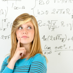 Thinking student teenager mathematics board