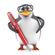 Academic penguin has a pen