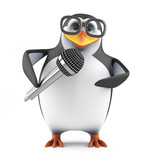 Academic penguin takes mic