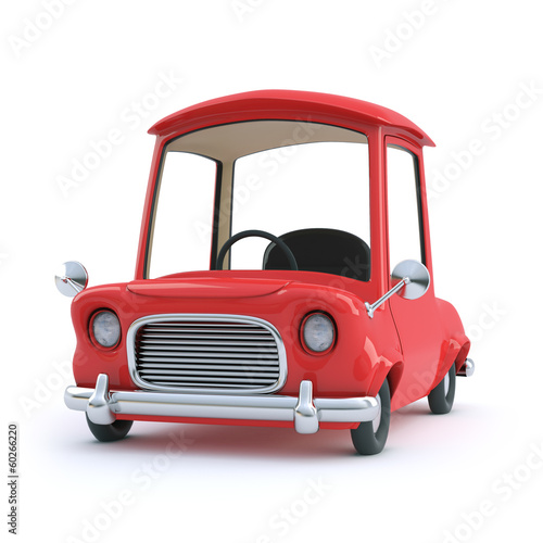 Red cartoon car front view
