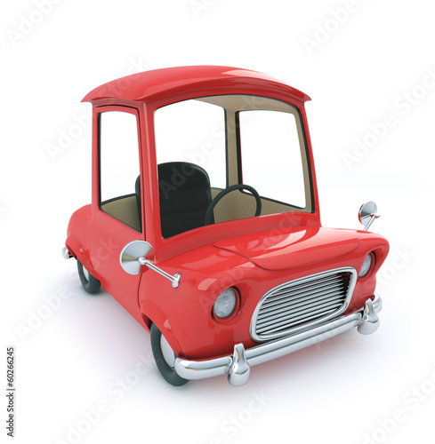 Red cartoon car top view
