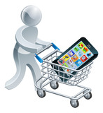 Person pushing trolley with mobile phone