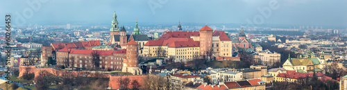 Cracow skyline with aerial view of historic royal Wawel Castle a - 60266453