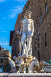Famous Fountain of Neptune on Piazza della Signoria in Florence,