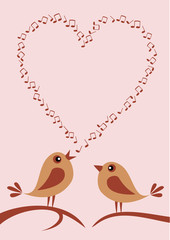 two cute birds singing about love