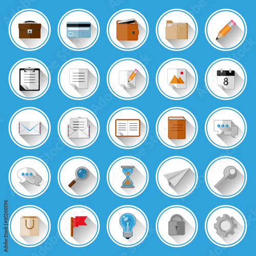 Flat icons and pictograms set