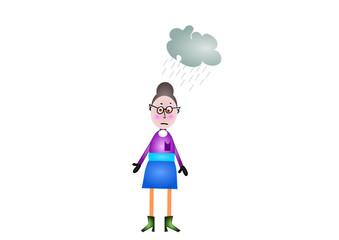 Frau mit Regenwolke über dem Kopf