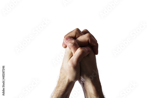 Hands clasped together for a prayer  isolated