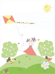 girl with kite playing outside-vector illustration