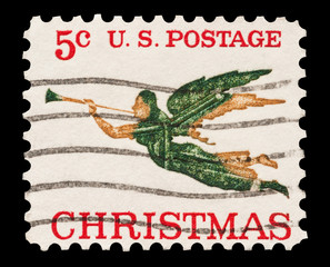 Five cent Christmas mail stamp printed in the USA, circa 1965