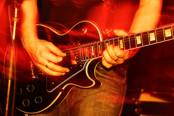 Live Concert guitar player close-up