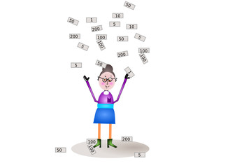 Frau im Geldregen
