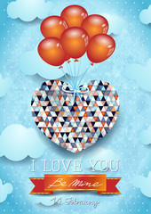 Heart with balloons, Valentine card