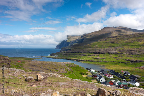 Faroe Islands, village surrounded by unspoilt nature