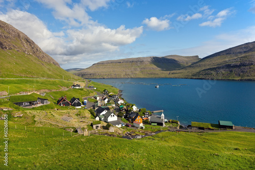 Remote small village surrounded by nature of Faroe Islands