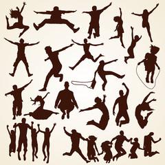 People jumping silhouettes, Menschen springen Vektor