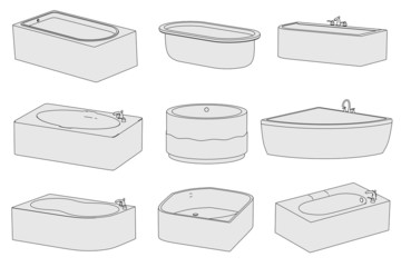 cartoon image of bathtubs -bathrooms