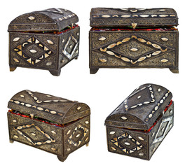 set of ancient bronze treasure chests