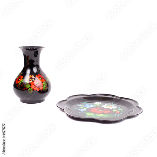 Zhostovo vase and tray set