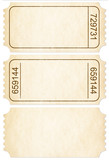 Ticket set. Paper ticket stubs isolated on white with clipping p