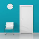 A wall clock and white chair in the waiting room