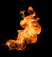 Flames on a black background.