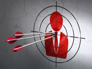 News concept: arrows in Business Man target on wall background