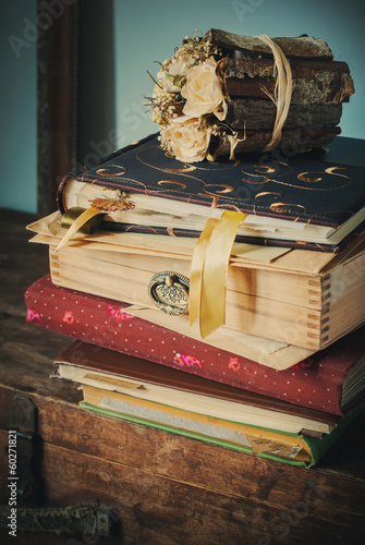 Old Vintage Albums with Boxes and Bouquet