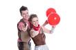 Freude und Spaß: Junge Leute im Karneval isoliert