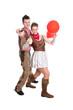 Fun & Spaß im Fasching - Liebespaar isoliert im Cowboy Kostüm
