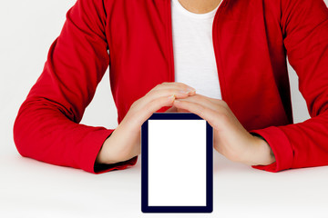 Woman showing tablet pc