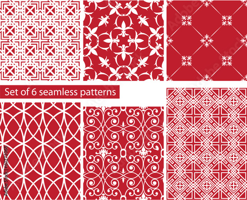 set of fabric textures with different lattices - seamless patter
