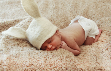 Funny sleeping newborn baby