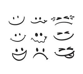 Set of Hand draw cartoon emotion vector