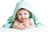Cute happy baby in towels