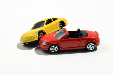 Car accident with two model cars