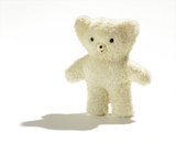 Cute cuddly white plush teddy bear poster