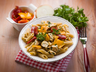 pasta with chicken and capsicum, selective focus